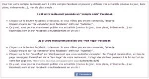 Sur son tableau de bord, le restaurateur a la possibilité de connecter son compte RezoResto à son compte Facebook afin de permettre la publication automatique.